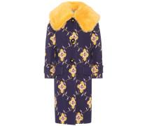 Mantel aus Woll-Jacquard mit Kunstpelz