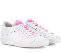 Sneakers Superstar aus Leder mit Nerz