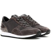Sneakers aus Velours- und Metallic-Leder