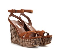 Wedge-Sandalen aus Veloursleder