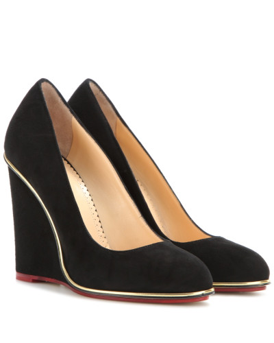 charlotte olympia damen wedges carmen 100 aus veloursleder reduziert. Black Bedroom Furniture Sets. Home Design Ideas