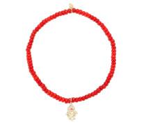 Armband Baby Hamsa aus 14kt Gelbgold mit Diamanten und einem Rubin