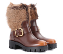 Stiefel aus Leder mit Pelz