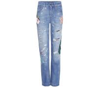 Boyfriend-Jeans mit Verzierung