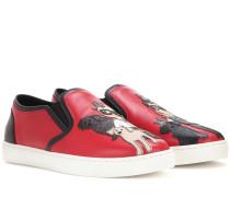 Slip-on-Sneakers aus Leder mit Print