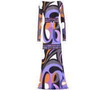 Bodenlanges Jersey-Kleid mit Print