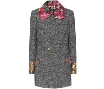 Mantel aus Tweed mit Brokat
