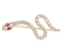 Einzelner Ohrring Snake aus 14kt Gelbgold mit Diamanten und Rubinen