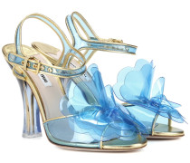 Sandaletten mit Metallic-Leder