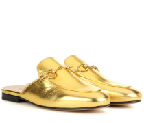Slippers Princetown aus Metallic-Leder