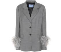 Blazer aus Wolle und Seide mit Federn
