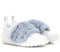 Sneakers aus Leder mit Pelz