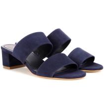 Sandalen Double Strap aus Veloursleder