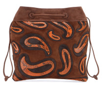 Veloursledertasche mt Pythonleder