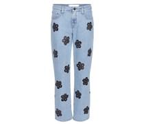 Cropped Jeans mit floralem Print