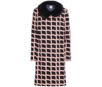 Mantel Suzanne aus Jacquard mit Webpelzkragen