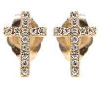 Ohrringe Mini Cross aus 14kt Gold mit weißen Diamanten