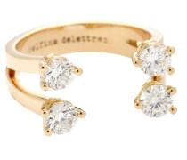 Phalanx-Ring Dots aus 18kt Roségold mit Diamanten