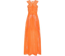 Bodenlanges Kleid aus Baumwollgemisch