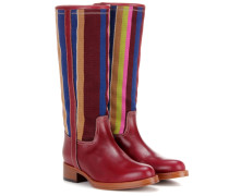 Stiefel aus Leder mit Webbesatz