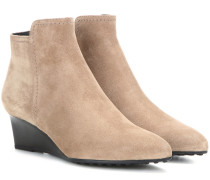 Wedge-Booties aus Veloursleder