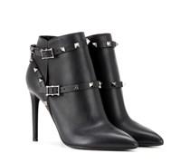 Garavani Ankle Boots Rockstud Noir aus Leder