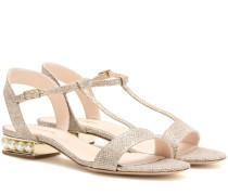 Metallic-Sandalen Casati mit Perlenverzierung