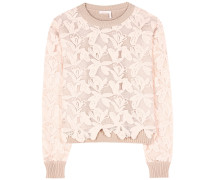 Pullover aus Baumwolle mit Spitzeneinsatz