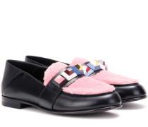 Loafers aus Leder und Shearling