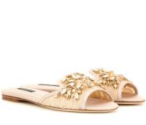 Verzierte Sandalen aus Spitze mit Kristallen