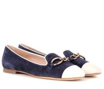 Loafers aus Velours- und Glattleder