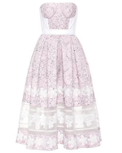 Schulterfreies Kleid mit Spitze