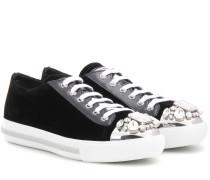 Verzierte Sneakers aus Samt