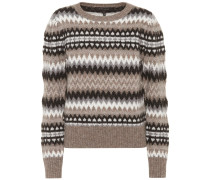 Pullover Fair Isle Puff Sleevemit Wolle