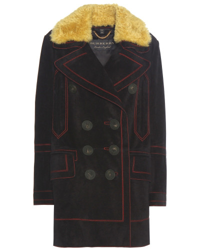 burberry damen mantel aus veloursleder mit lammfellkragen. Black Bedroom Furniture Sets. Home Design Ideas
