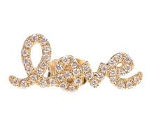 Einzelner Ohrring Love aus 14kt Gelbgold mit Diamanten