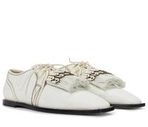 Schnürschuhe aus Raffiabast und Leder