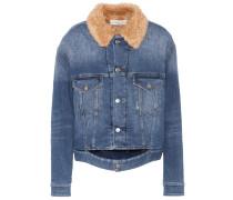 Jeansjacke mit Faux-Fur-Kragen