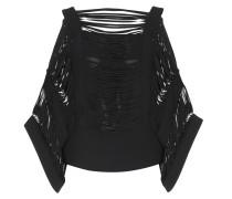 Off-Shoulder-Bluse aus Crêpe mit Lasercut-Details
