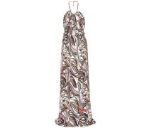 Bedrucktes Neckholder-Kleid aus einem Seidengemisch