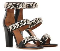 Sandalen aus Leder mit Kettenverzierung