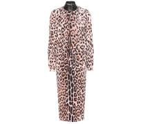 Kleid aus Crêpe mit Leopardenprint und Lederbesatz
