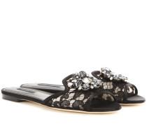 Verzierte Sandalen Bianca aus Spitze