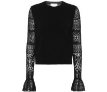 Pullover aus Wolle mit Spitze