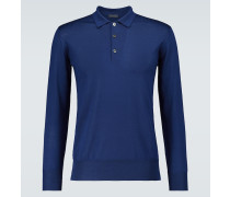 Langarm-Poloshirt aus Merinowolle
