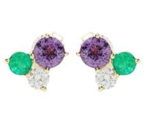 Ohrringe aus 18kt Gelbgold mit weißen Diamanten, Saphiren und Smaragden
