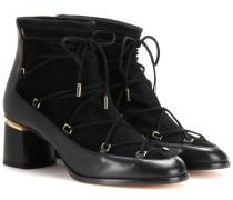 Ankle Boots Outliner aus Veloursleder und Leder