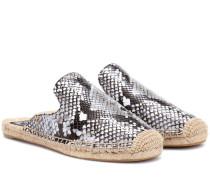 Slippers Espadrille Slide aus bedrucktem Leder