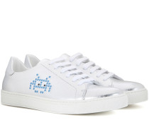 Sneakers Space Invader aus Metallic-Leder