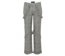 Karierte Hose aus einem Baumwoll-Leinengemisch mit Rüschen
